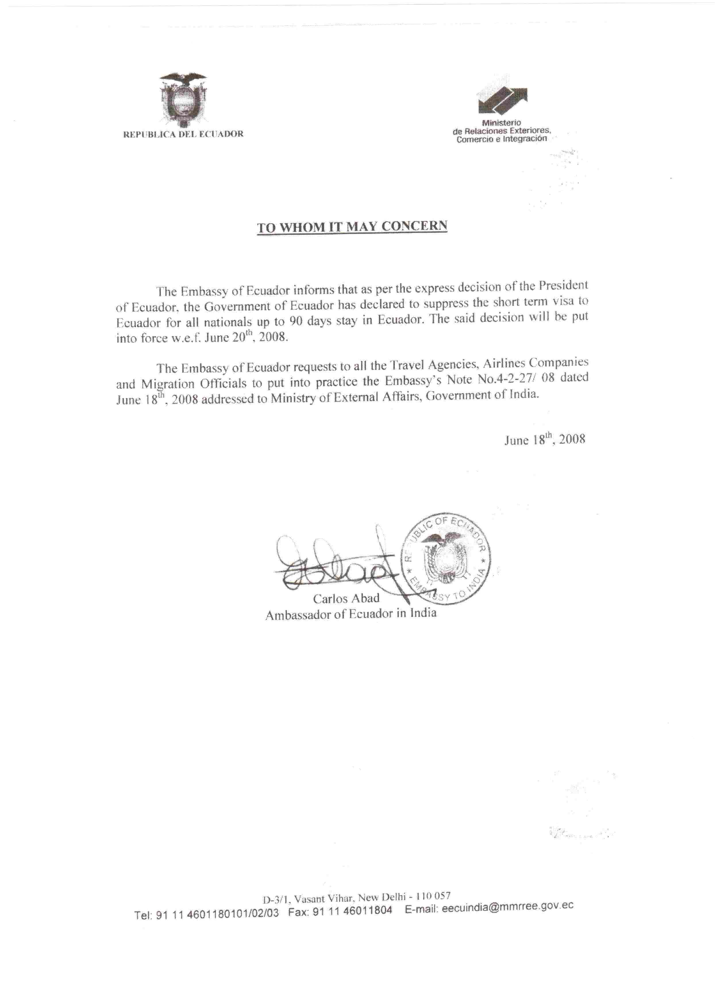 Ecuador visa information, Ecuador visa from India, visa from India